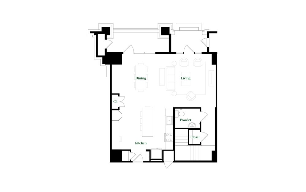 TH28a - 2 bedroom floorplan layout with 2.5 baths and 2090 square feet. (Floor 1)