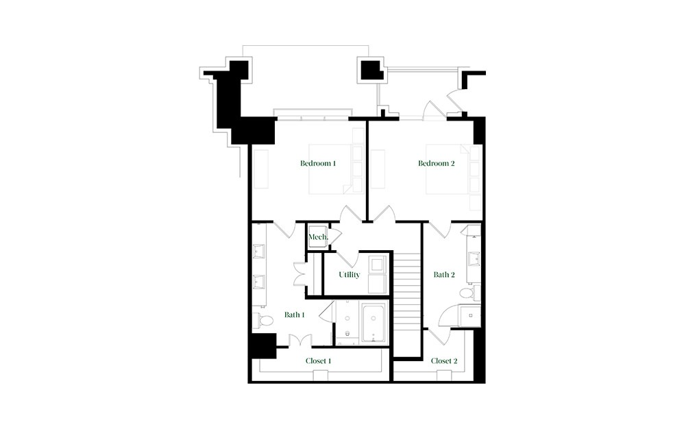 TH28a - 2 bedroom floorplan layout with 2.5 baths and 2090 square feet. (Floor 2)