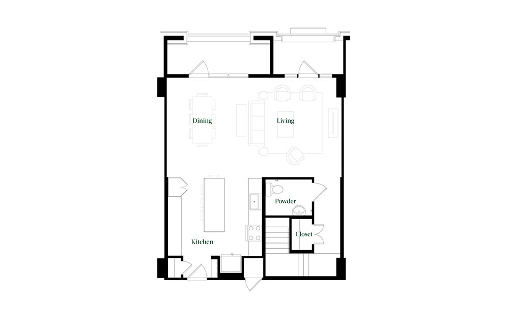 TH28 - 2 bedroom floorplan layout with 2.5 baths and 1827 square feet. (Floor 1)