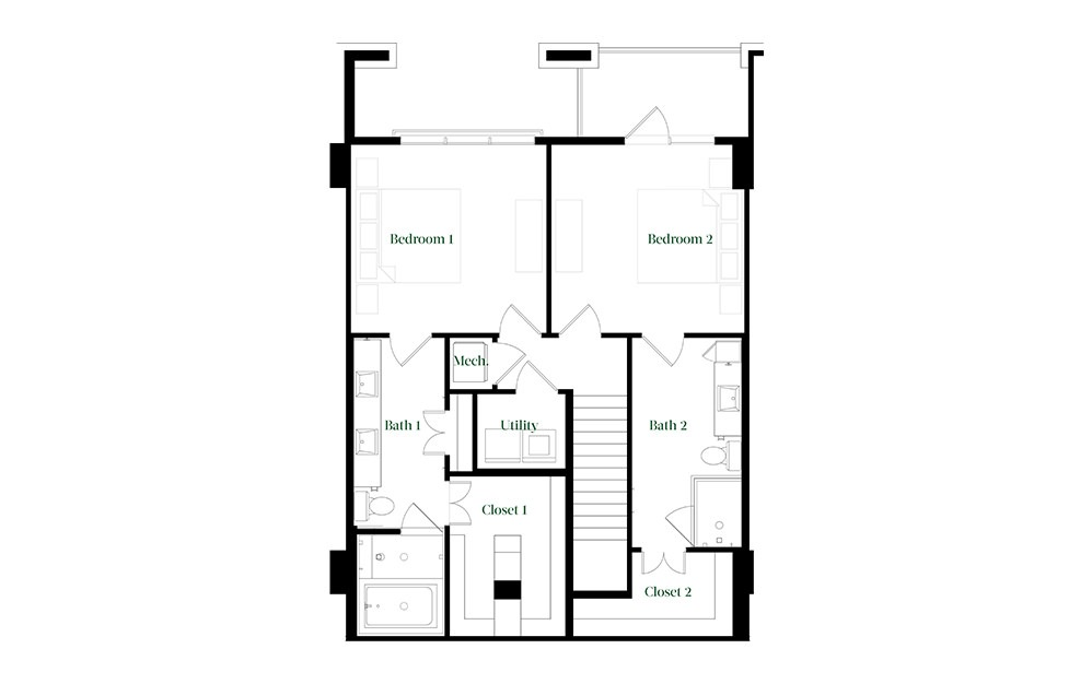 TH28 - 2 bedroom floorplan layout with 2.5 baths and 1827 square feet. (Floor 2)