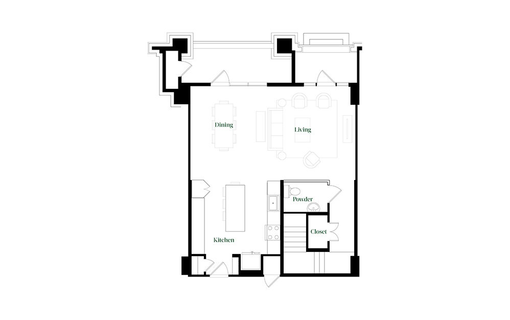 TH28.3 - 2 bedroom floorplan layout with 2.5 baths and 1827 square feet. (Floor 1)
