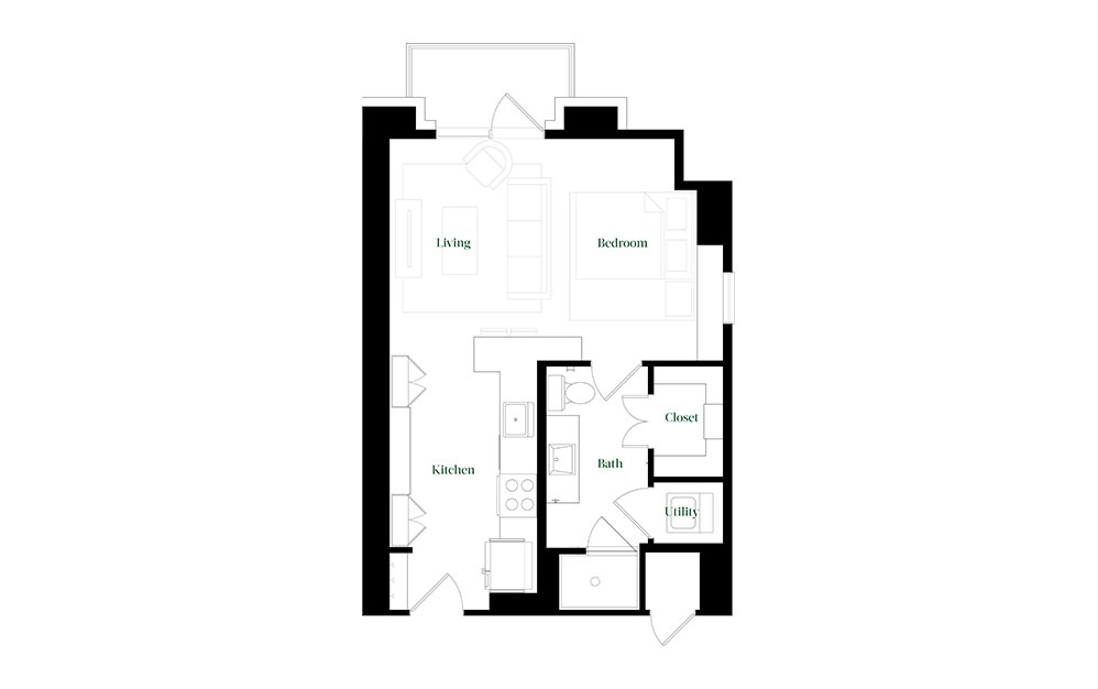 S21.2 - Studio floorplan layout with 1 bath and 550 square feet.