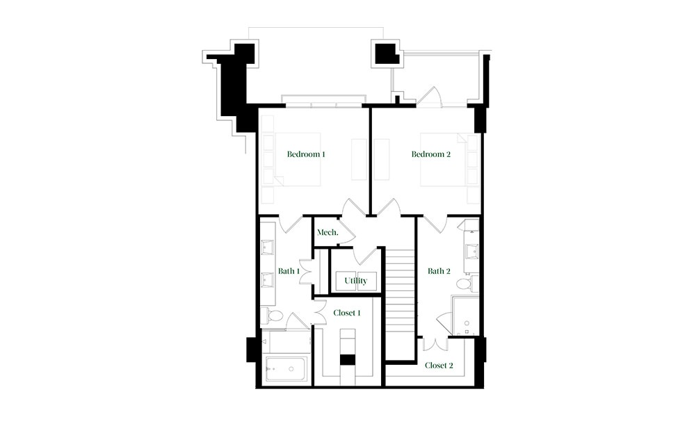 TH28.3 - 2 bedroom floorplan layout with 2.5 baths and 1827 square feet. (Floor 2)