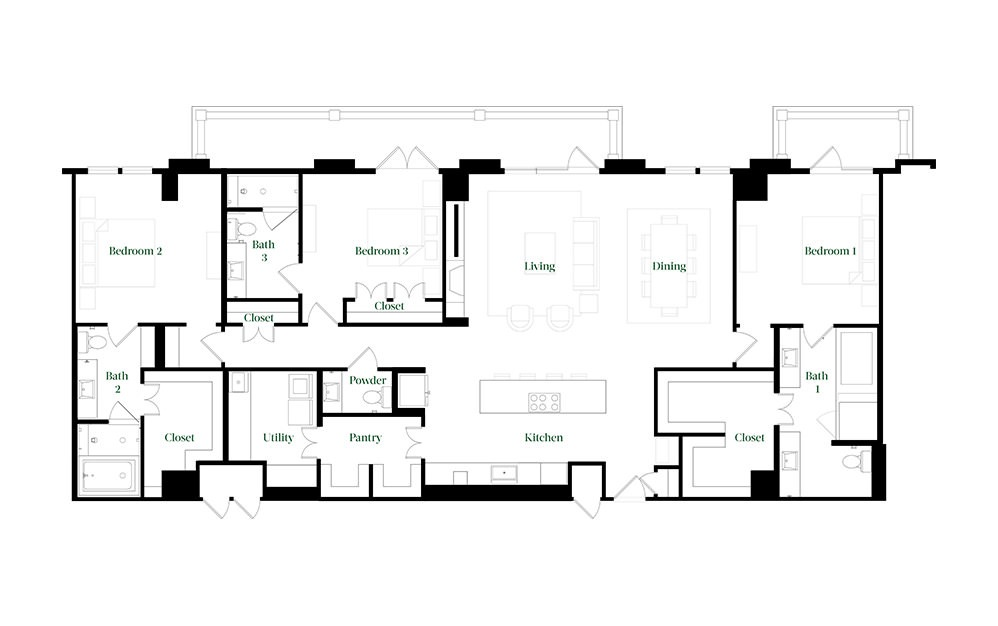 PH78 - 3 bedroom floorplan layout with 3.5 baths and 2512 square feet.