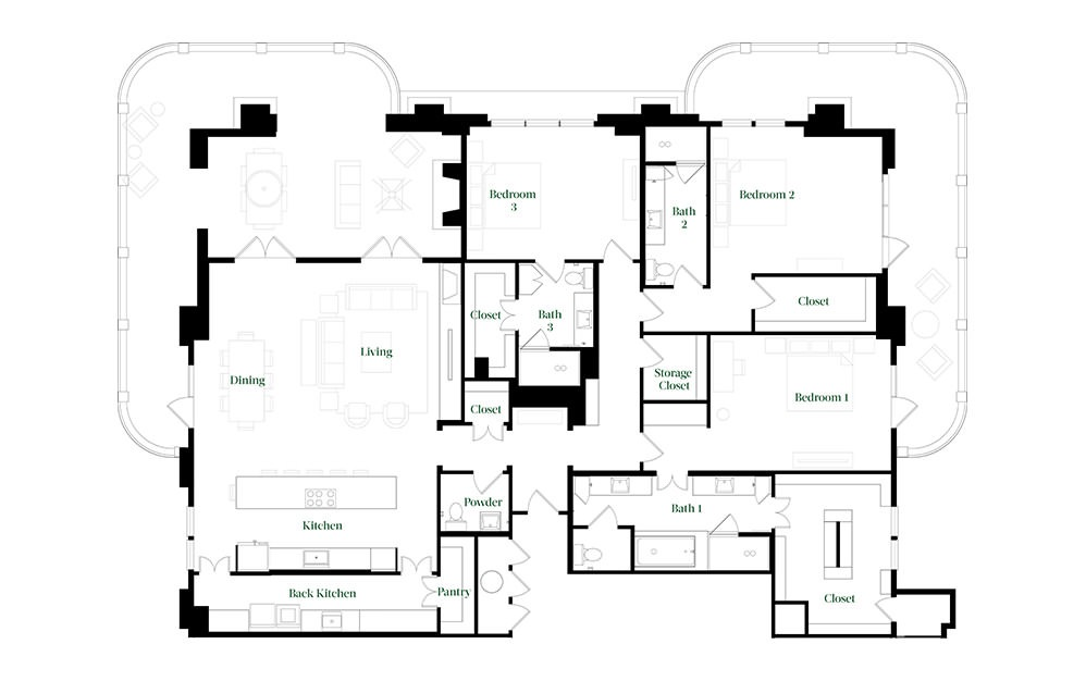 PH76 - 3 bedroom floorplan layout with 3.5 baths and 3070 square feet.