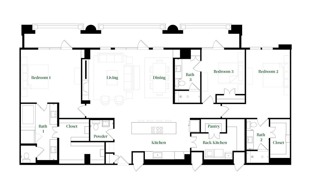 PH74 - 3 bedroom floorplan layout with 3.5 baths and 2370 square feet.