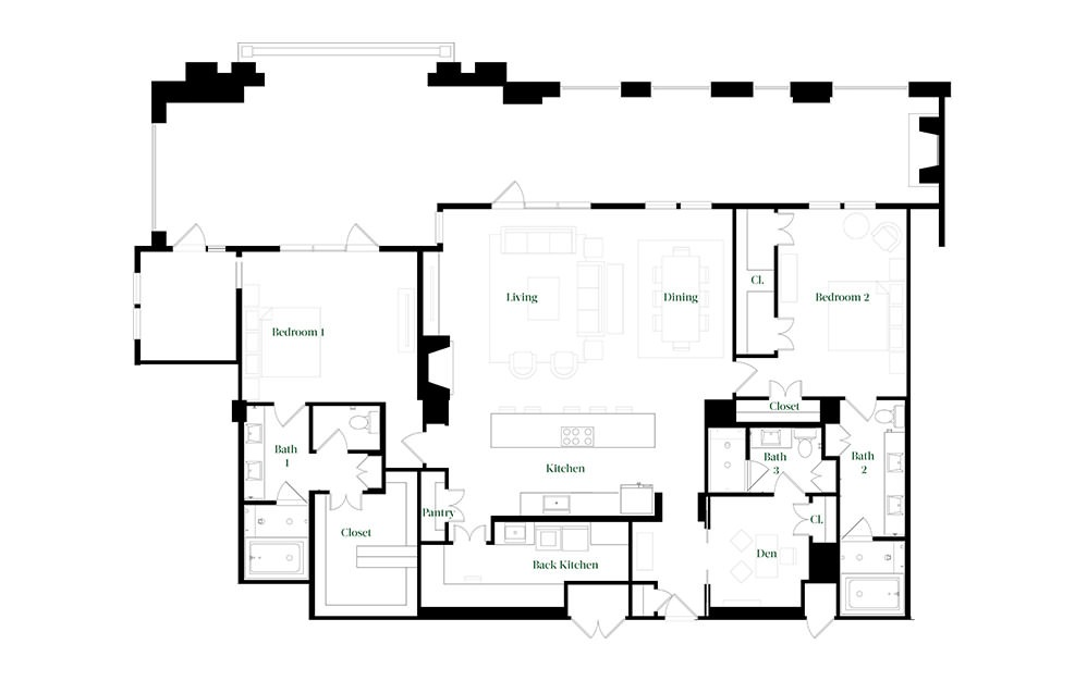 PH72 - 3 bedroom floorplan layout with 3 baths and 2462 square feet.