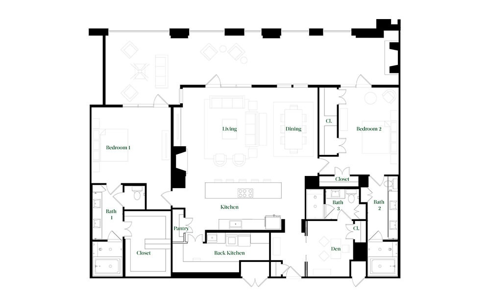 PH62 - 3 bedroom floorplan layout with 3 baths and 2365 square feet.
