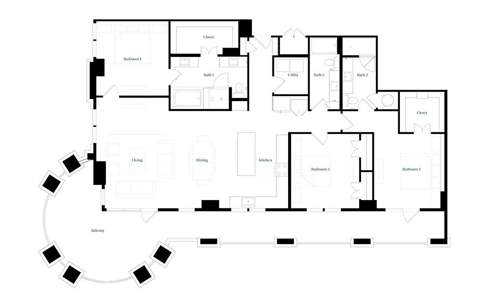 C-OC - 3 bedroom floorplan layout with 3 baths and 2026 square feet.