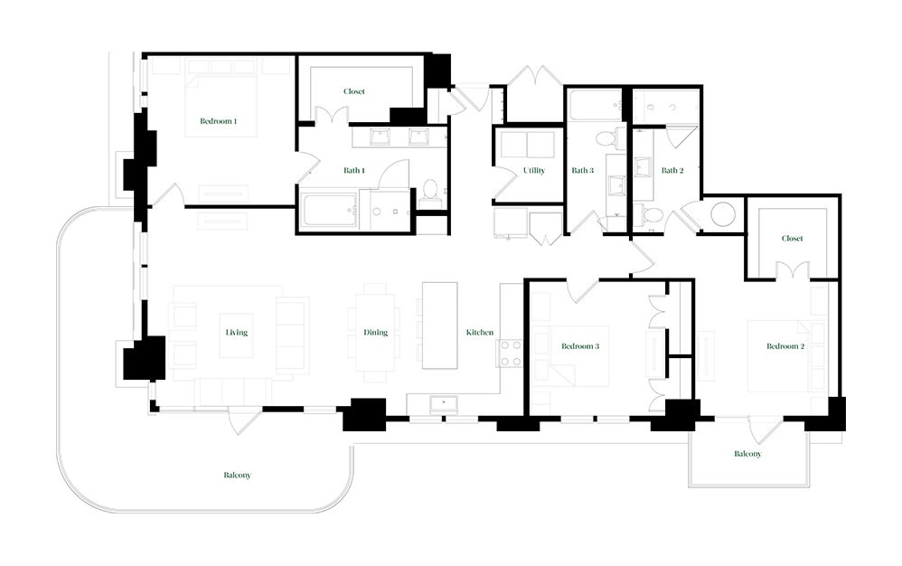 C-OC.3 - 3 bedroom floorplan layout with 3 baths and 2026 square feet.