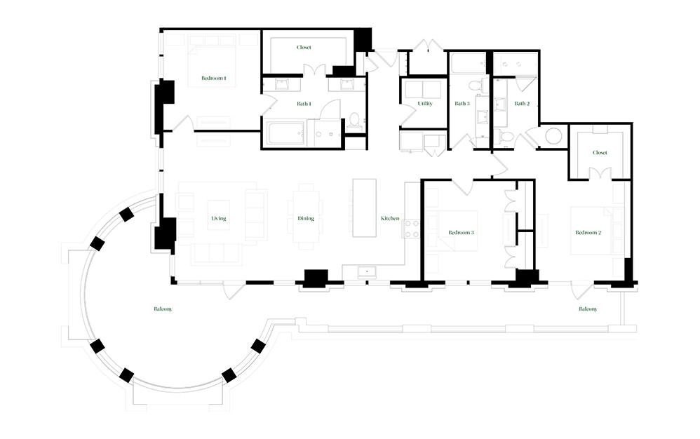 C-OC.2 - 3 bedroom floorplan layout with 3 baths and 2026 square feet.
