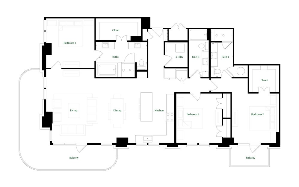 C-OC.1 - 3 bedroom floorplan layout with 3 baths and 2026 square feet.
