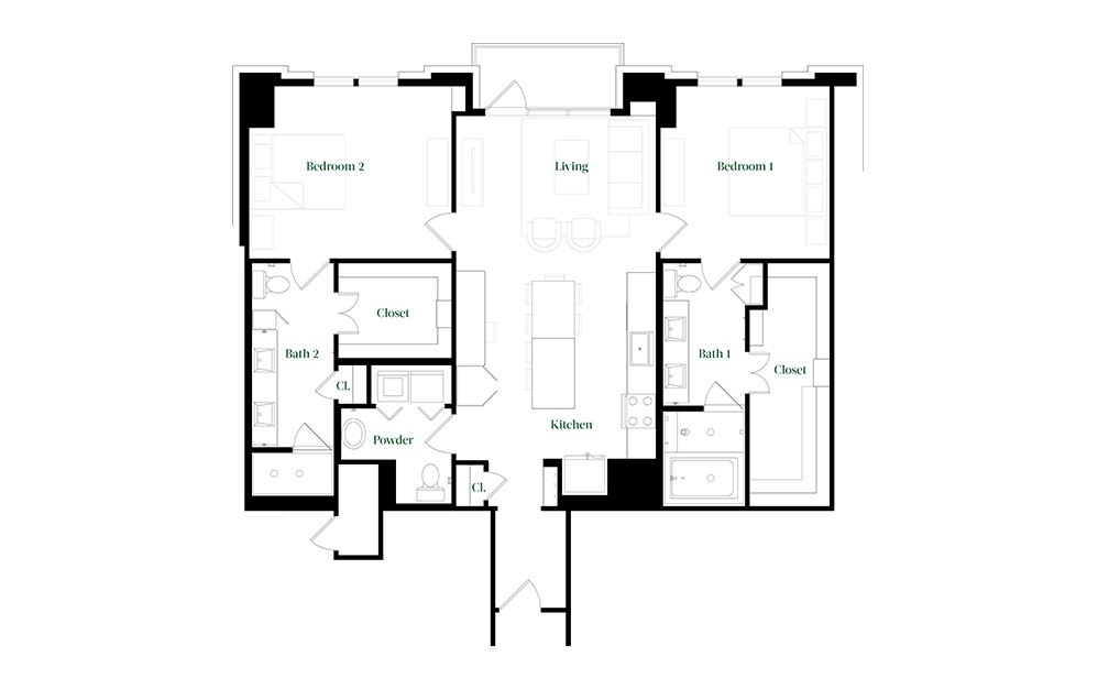 B45a - 2 bedroom floorplan layout with 2.5 baths and 1401 square feet.