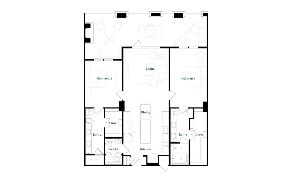 B40 - 2 bedroom floorplan layout with 2.5 baths and 1521 square feet.