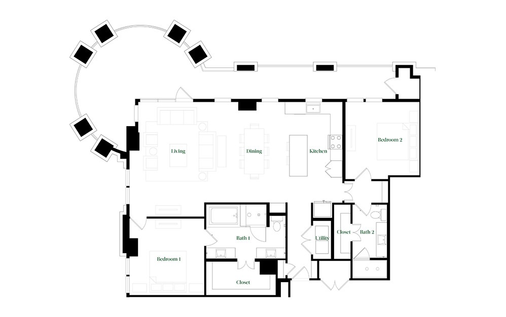 B-OC - 2 bedroom floorplan layout with 2 baths and 1678 square feet.