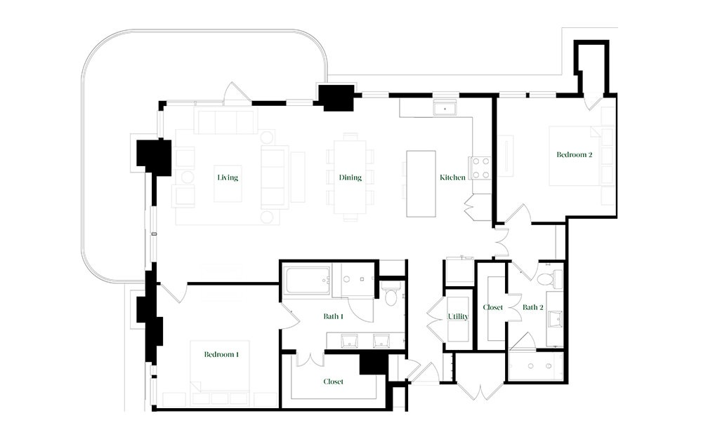 B-OC.3 - 2 bedroom floorplan layout with 2 baths and 1678 square feet.