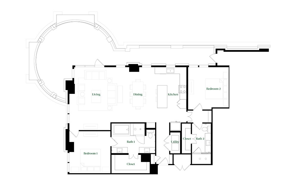 B-OC.2 - 2 bedroom floorplan layout with 2 baths and 1678 square feet.