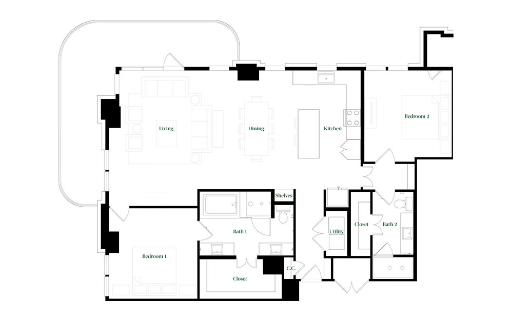 B-OC.1 - 2 bedroom floorplan layout with 2 baths and 1678 square feet.