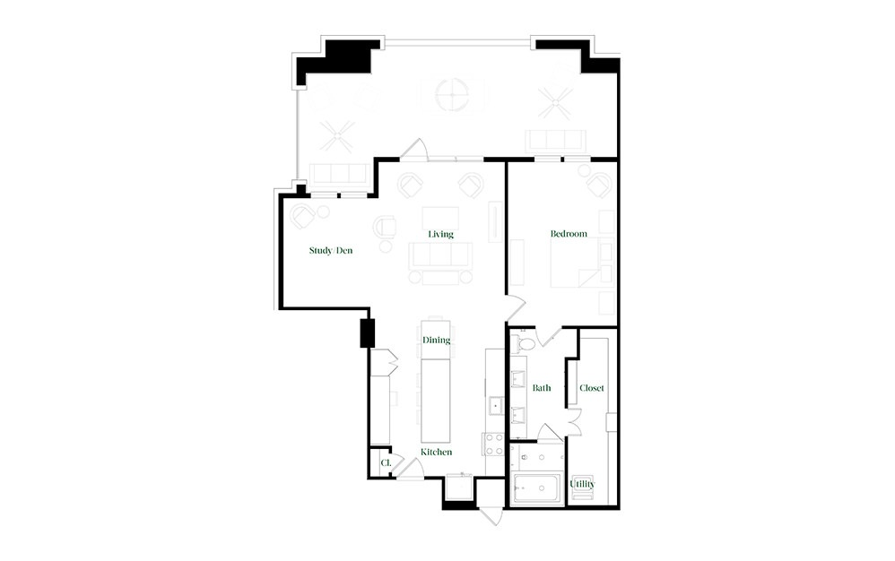 A28b - 1 bedroom floorplan layout with 1 bath and 1180 square feet.