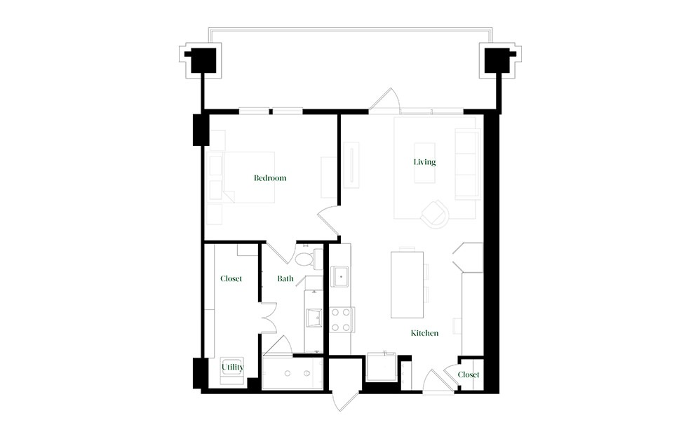 A28a - 1 bedroom floorplan layout with 1 bath and 784 square feet.