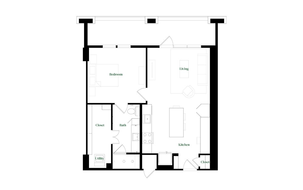 A28a.6 - 1 bedroom floorplan layout with 1 bath and 784 square feet.