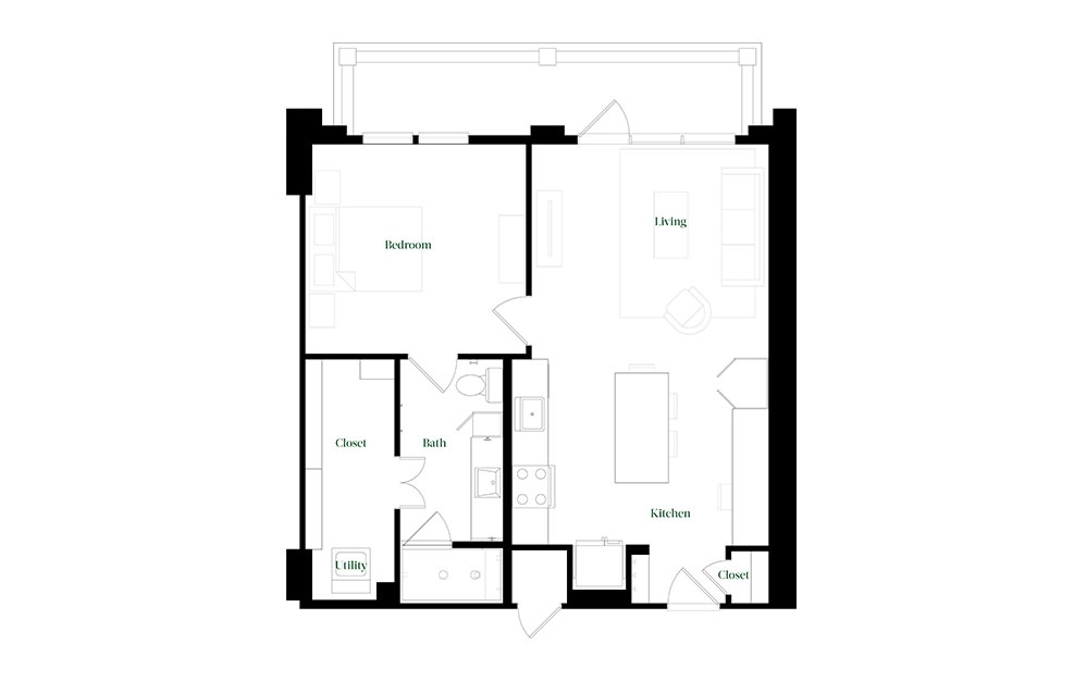 A28a.4 - 1 bedroom floorplan layout with 1 bath and 784 square feet.