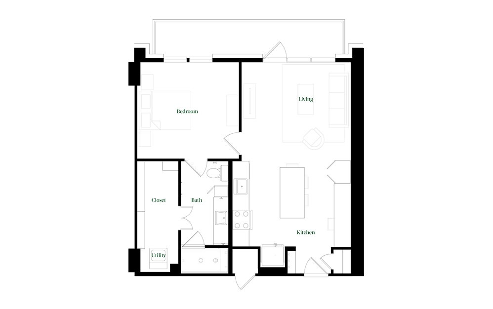 A28a.3 - 1 bedroom floorplan layout with 1 bath and 784 square feet.