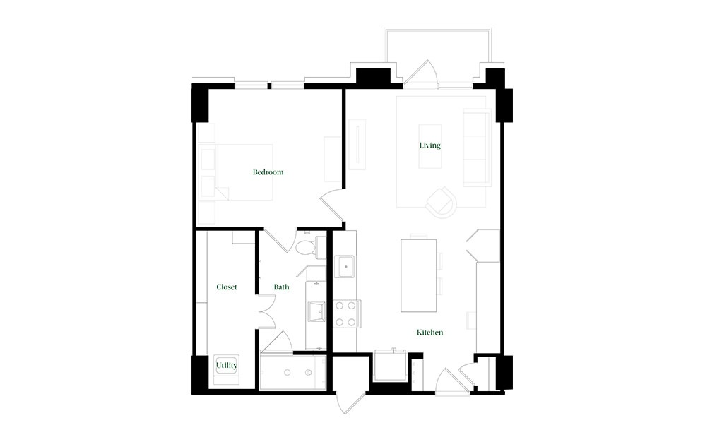 A28a.2 - 1 bedroom floorplan layout with 1 bath and 784 square feet.