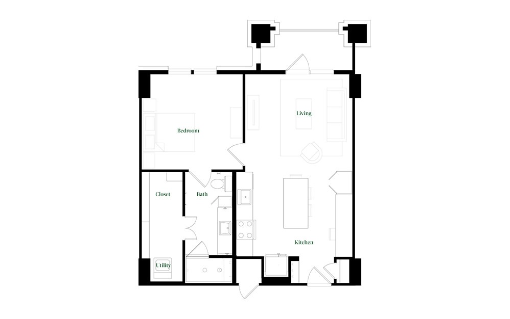 A28a.1 - 1 bedroom floorplan layout with 1 bath and 784 square feet.