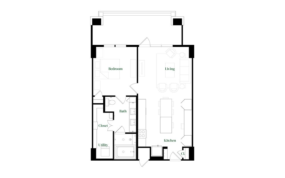 A28.24 - 1 bedroom floorplan layout with 1 bath and 896 square feet.