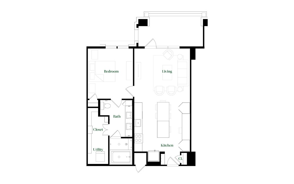 A28.23 - 1 bedroom floorplan layout with 1 bath and 896 square feet.
