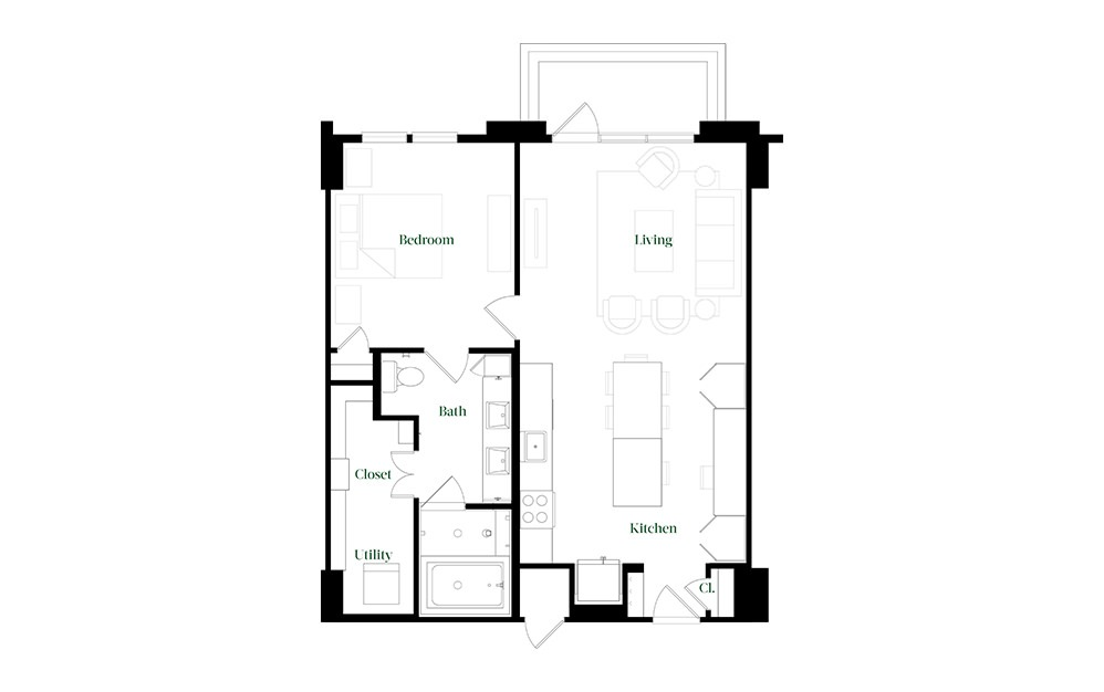 A28.15 - 1 bedroom floorplan layout with 1 bath and 896 square feet.