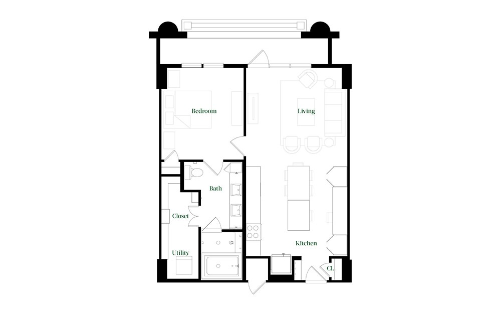 A28.13 - 1 bedroom floorplan layout with 1 bath and 896 square feet.
