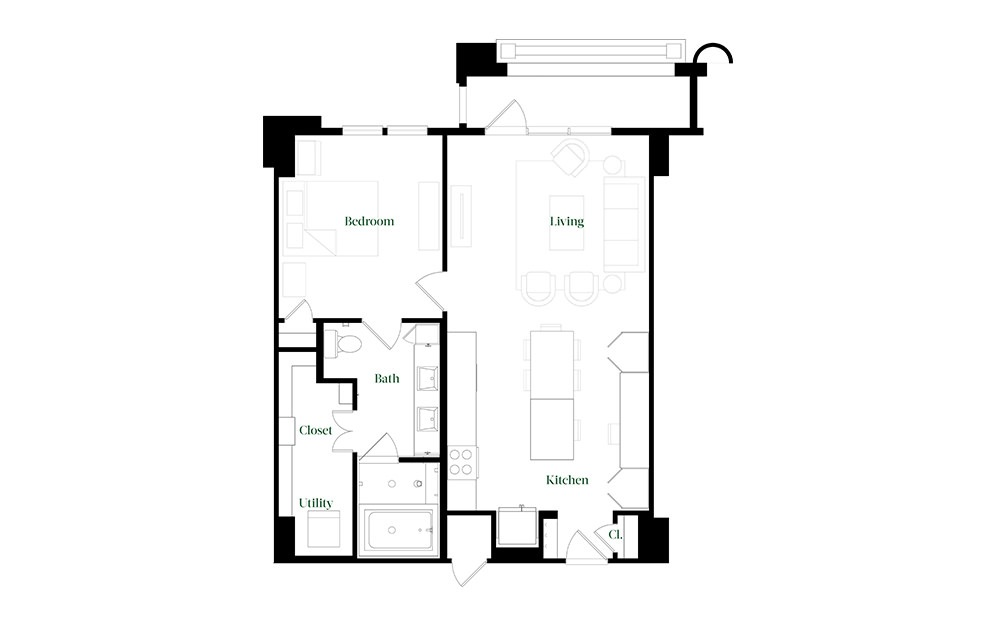 A28.12 - 1 bedroom floorplan layout with 1 bath and 896 square feet.
