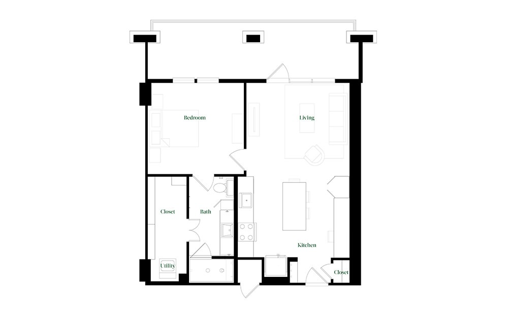 A28.10 - 1 bedroom floorplan layout with 1 bath and 896 square feet.