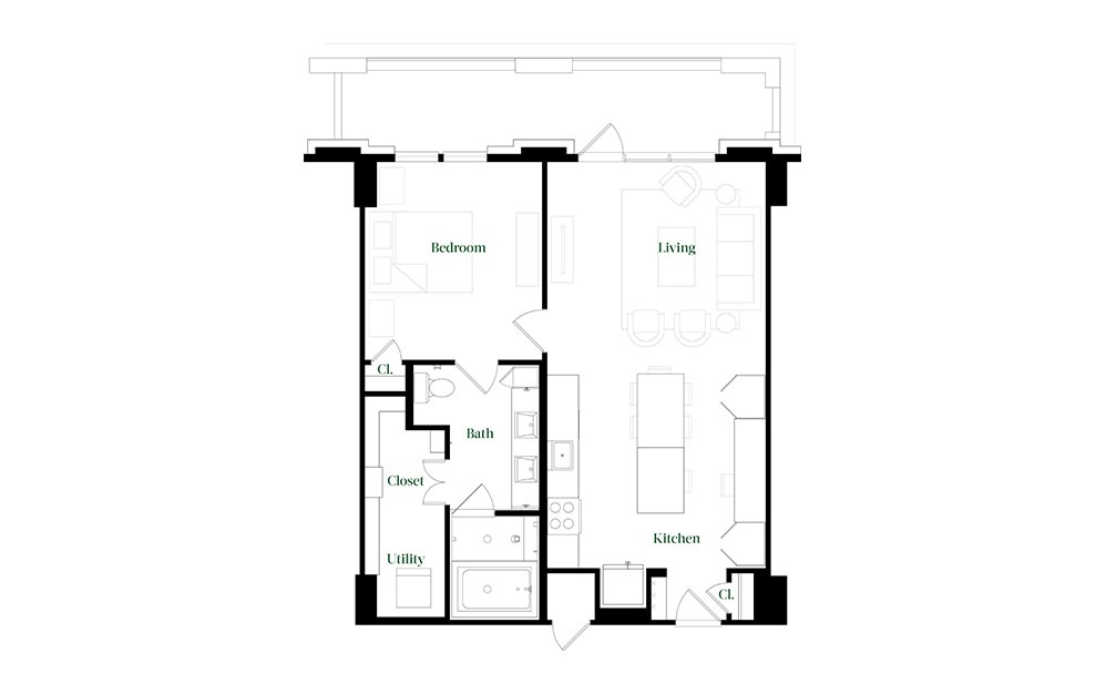 A28.9 - 1 bedroom floorplan layout with 1 bath and 896 square feet.