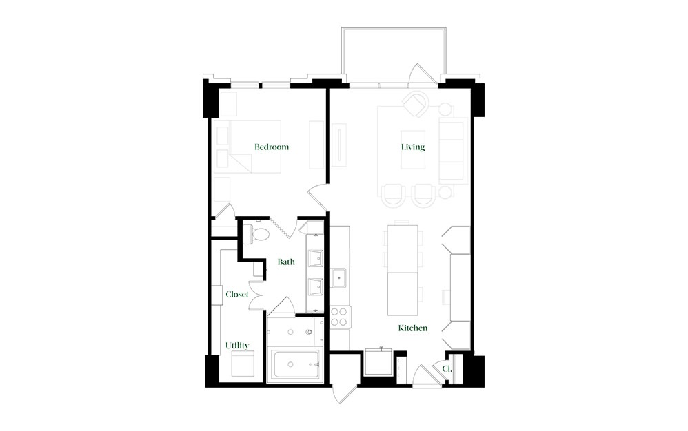 A28.7 - 1 bedroom floorplan layout with 1 bath and 896 square feet.