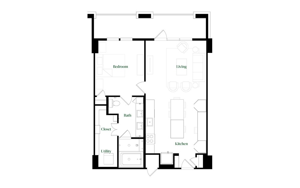 A28.3 - 1 bedroom floorplan layout with 1 bath and 896 square feet.