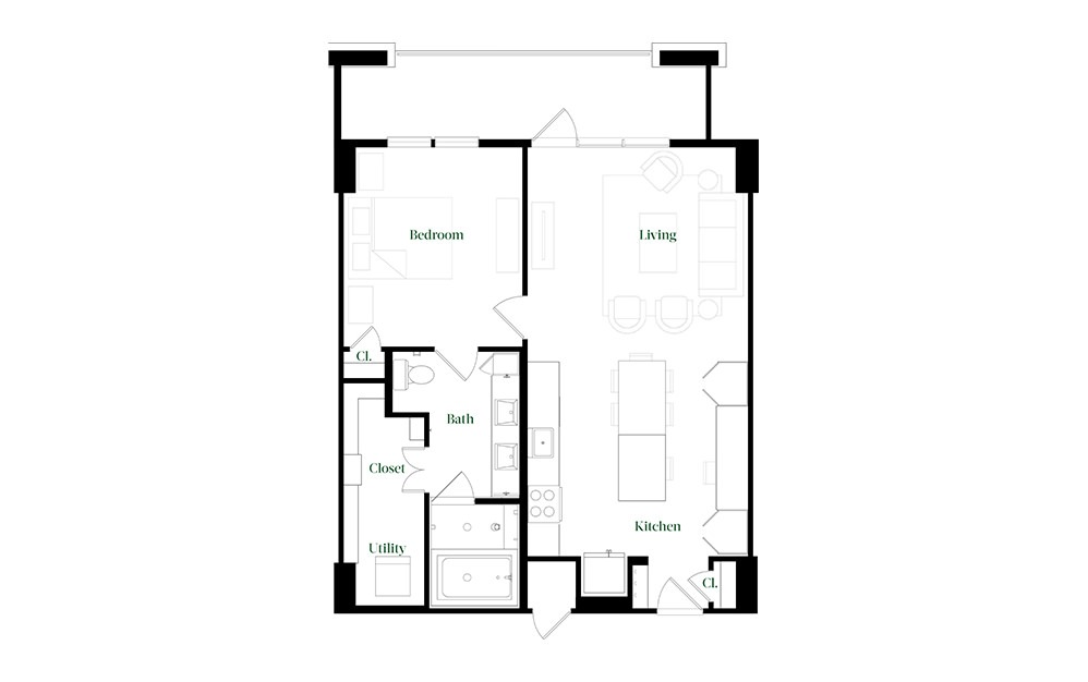 A28.1 - 1 bedroom floorplan layout with 1 bath and 896 square feet.